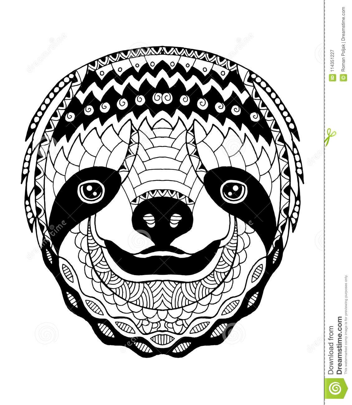 Sloth Coloring Book For Adults Vector Vector Illustration