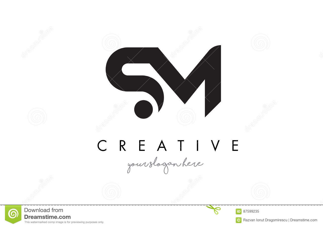 Sm Letter Logo Design With Creative Modern Trendy
