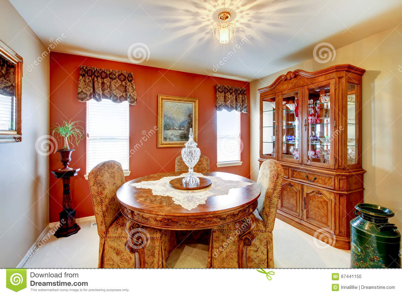 Small Dining Room With Red Accent Wall, And Detailed Old