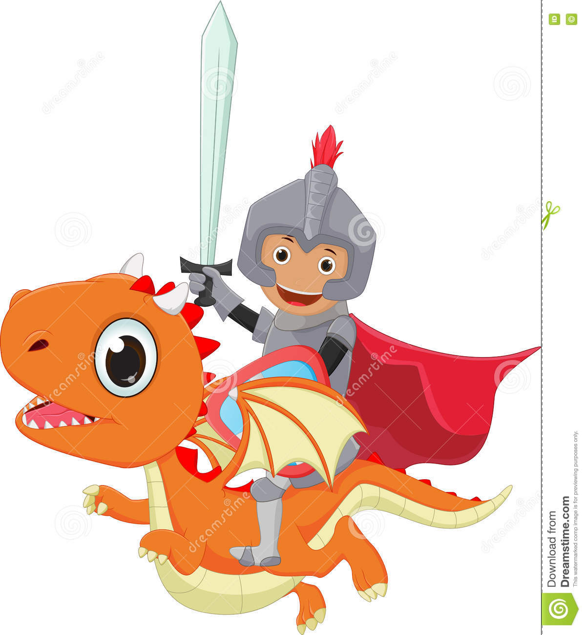 Small Knight Riding The Dragon Stock Vector