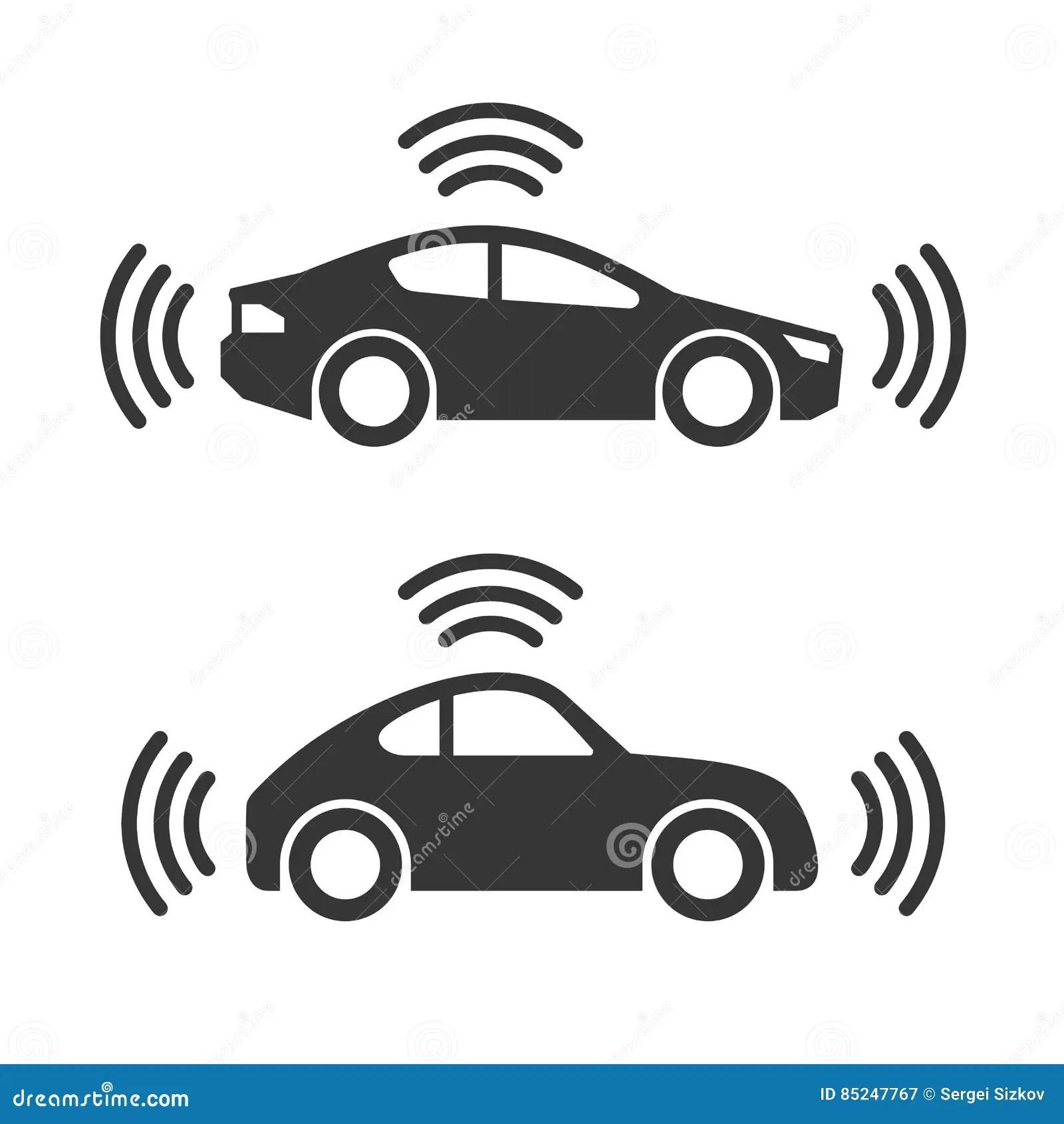 smart car icon set vector illustration