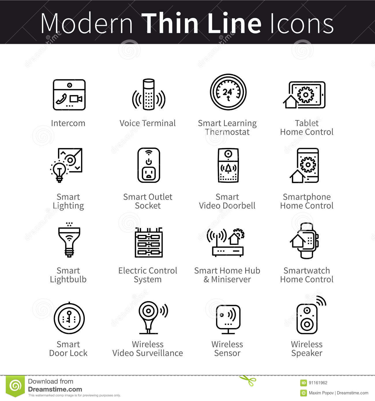Set Vector Flat Line Icons Internet Of Things Stock Photo