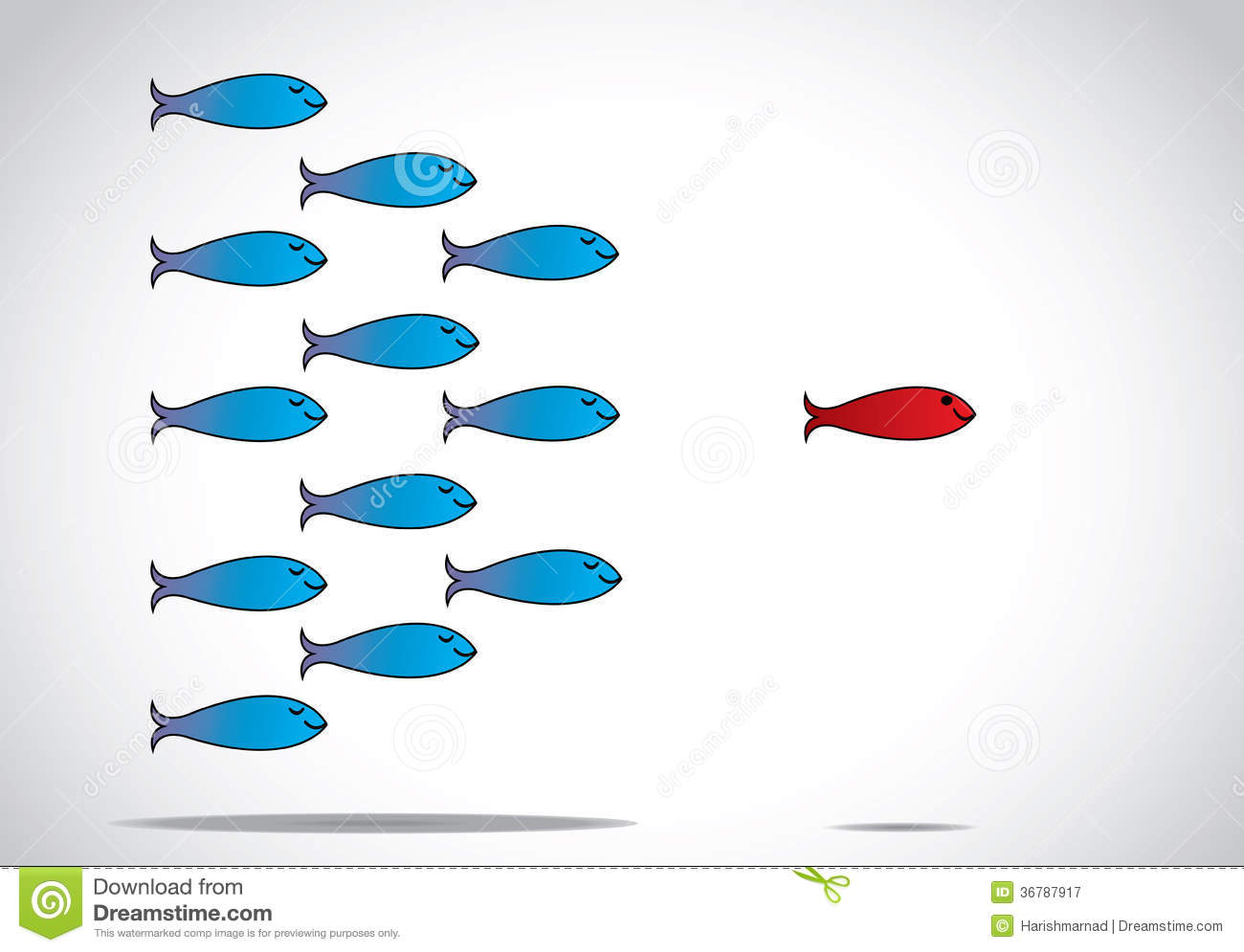 Smart Leadership And Happy Group Of Fish Following Leader