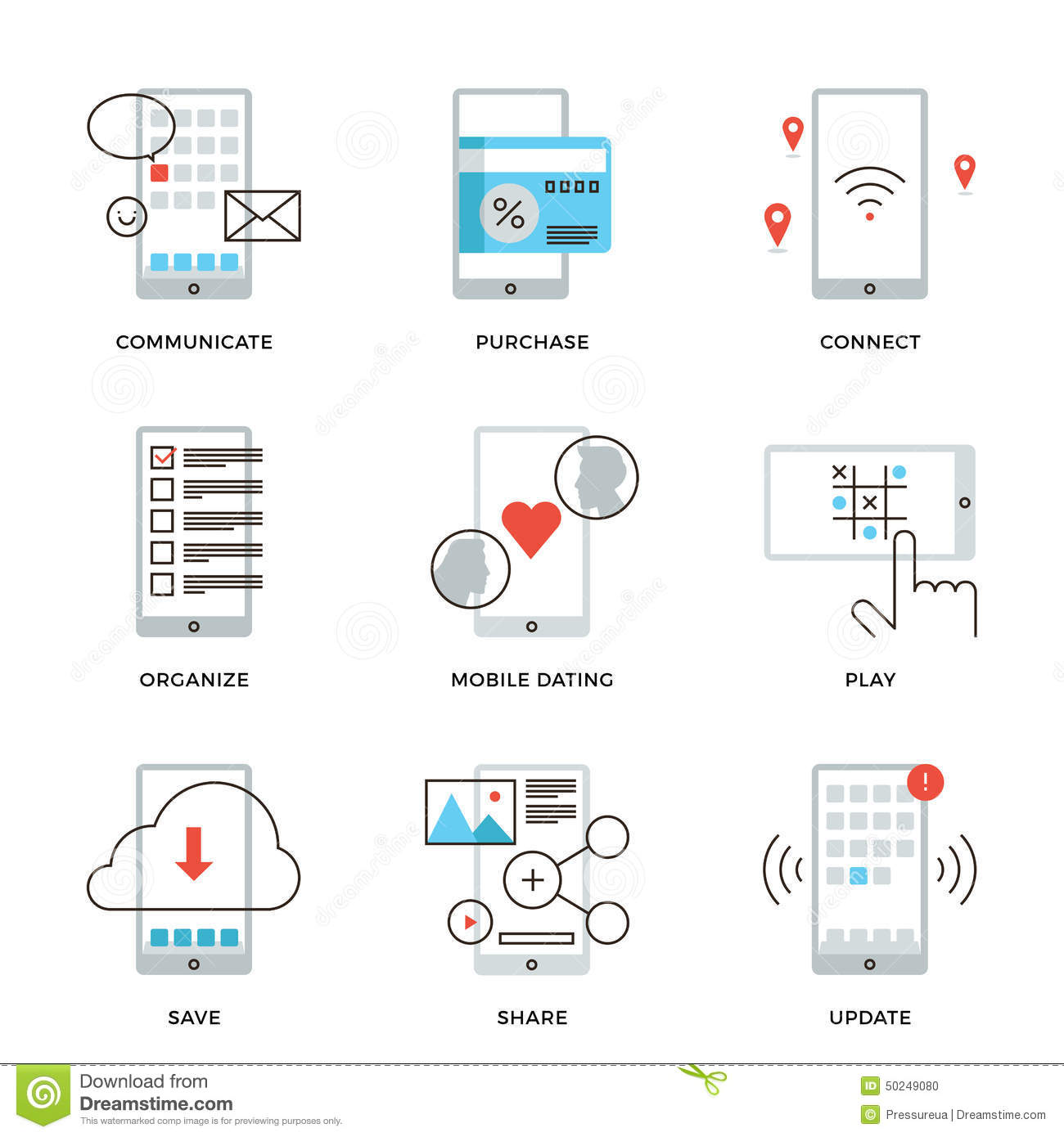 Smartphone Features Line Icons Set Stock Vector