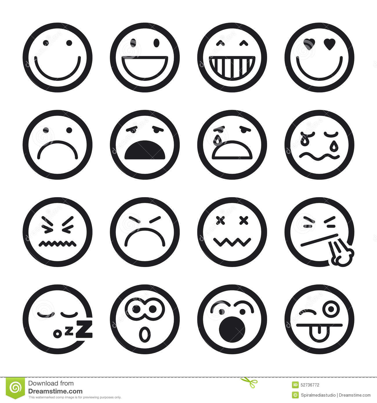 Smiley Flat Icons Black Stock Vector