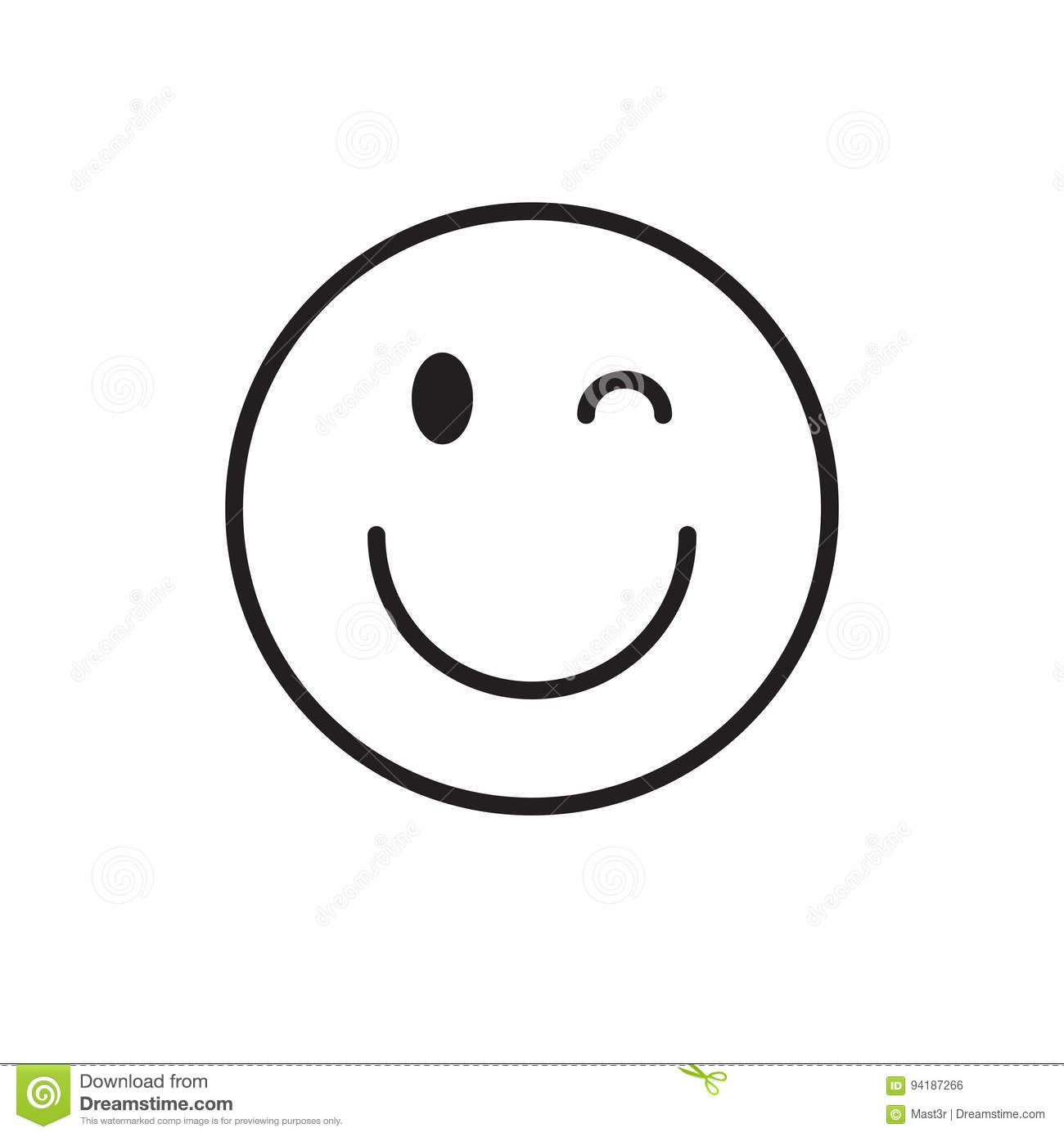 Smiling Cartoon Face Wink Positive People Emotion Icon