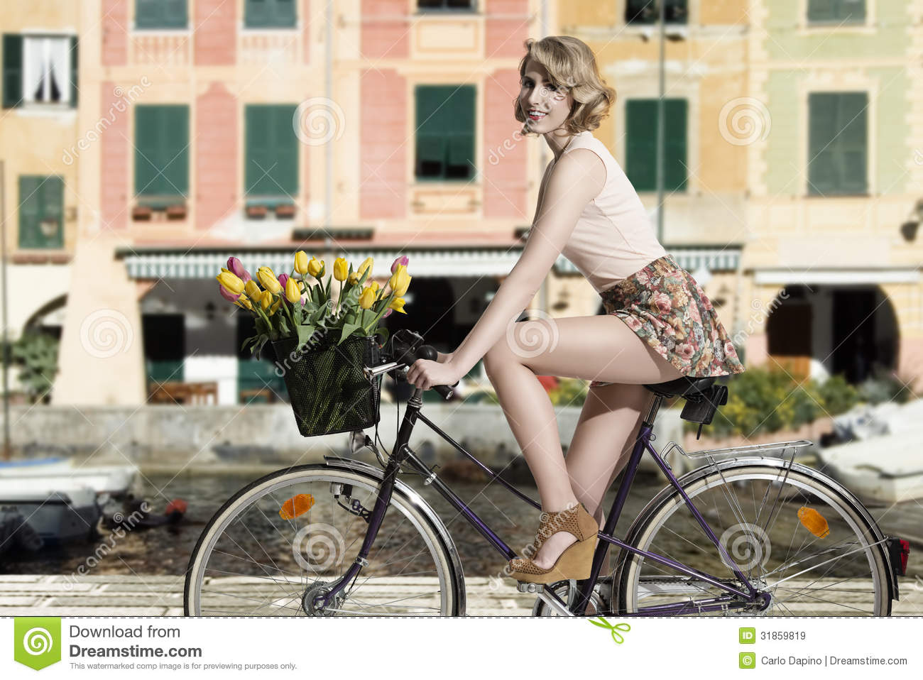Smiling Woman On Bicycle Outdoor Sea Stock Image Image