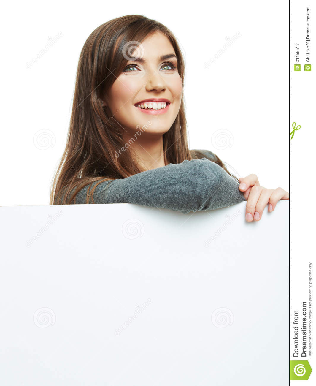 Smiling Woman Leaning On Big Blank Board Close Up Female