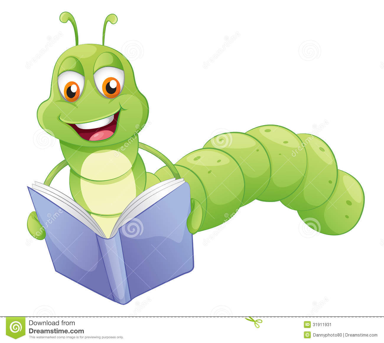 A Smiling Worm Reading Stock Image