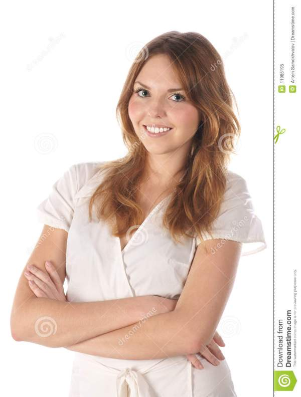 Smiling Young Woman On White Background Royalty Free Stock