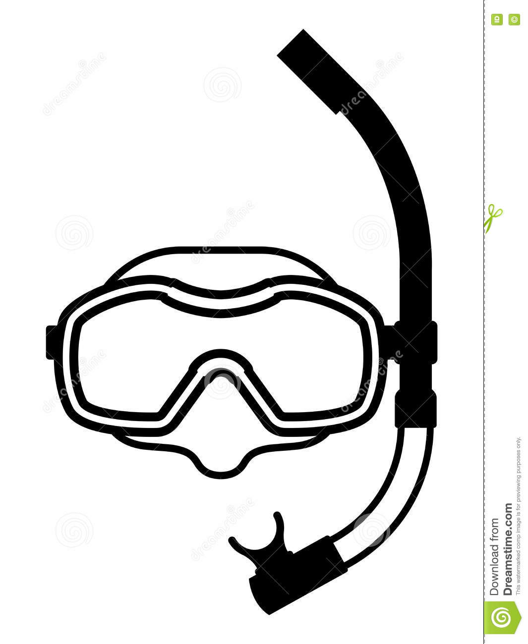 Snorkeling Equipment Black And White Icon Stock Vector