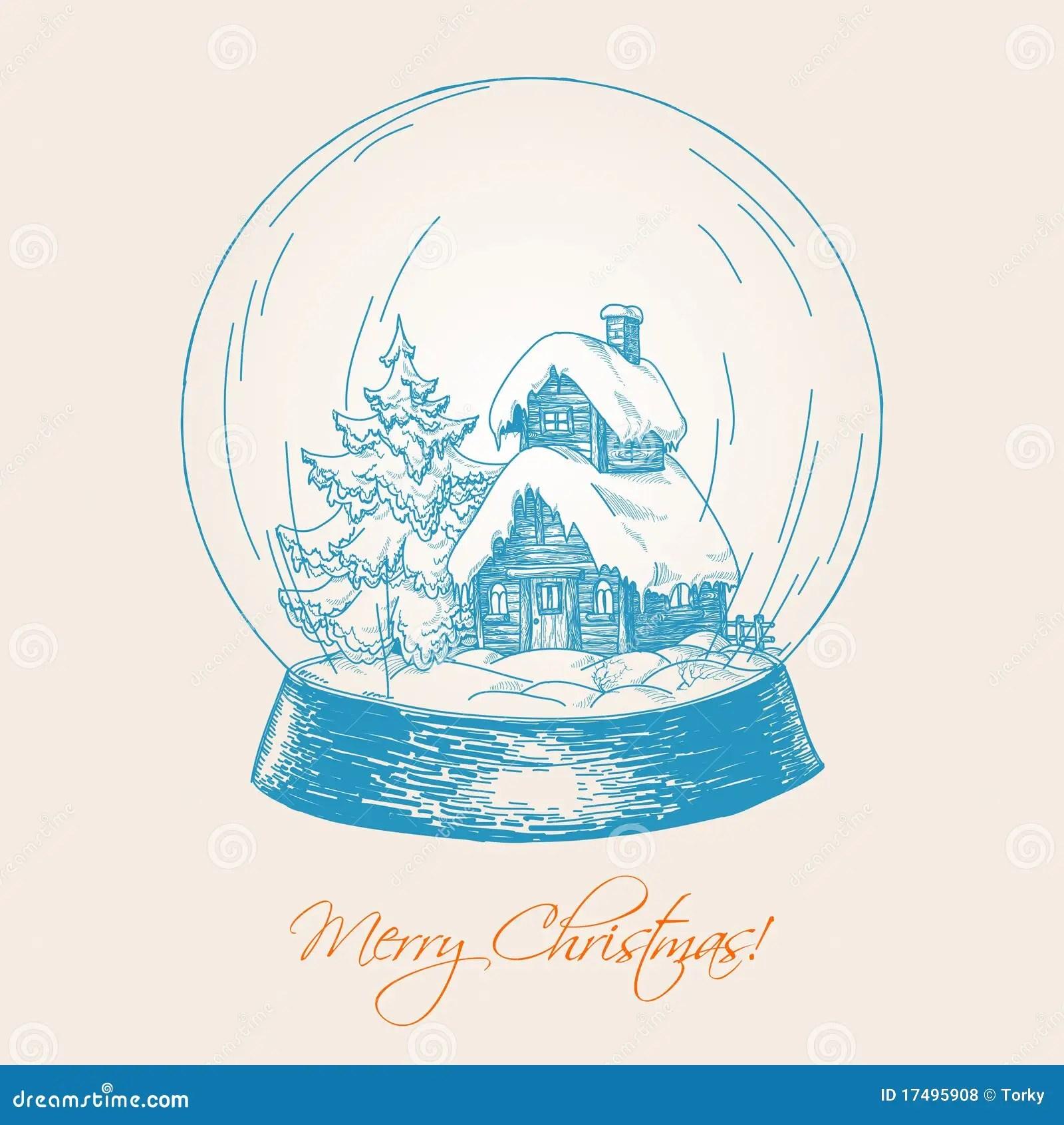 Snow Globe Sketch Royalty Free Stock Photos Image 17495908