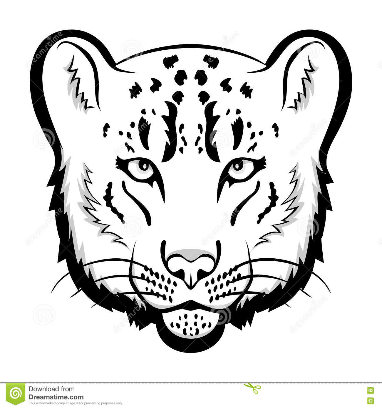 Snow Leopard Logo Mascot Snow Leopard Head Isolated