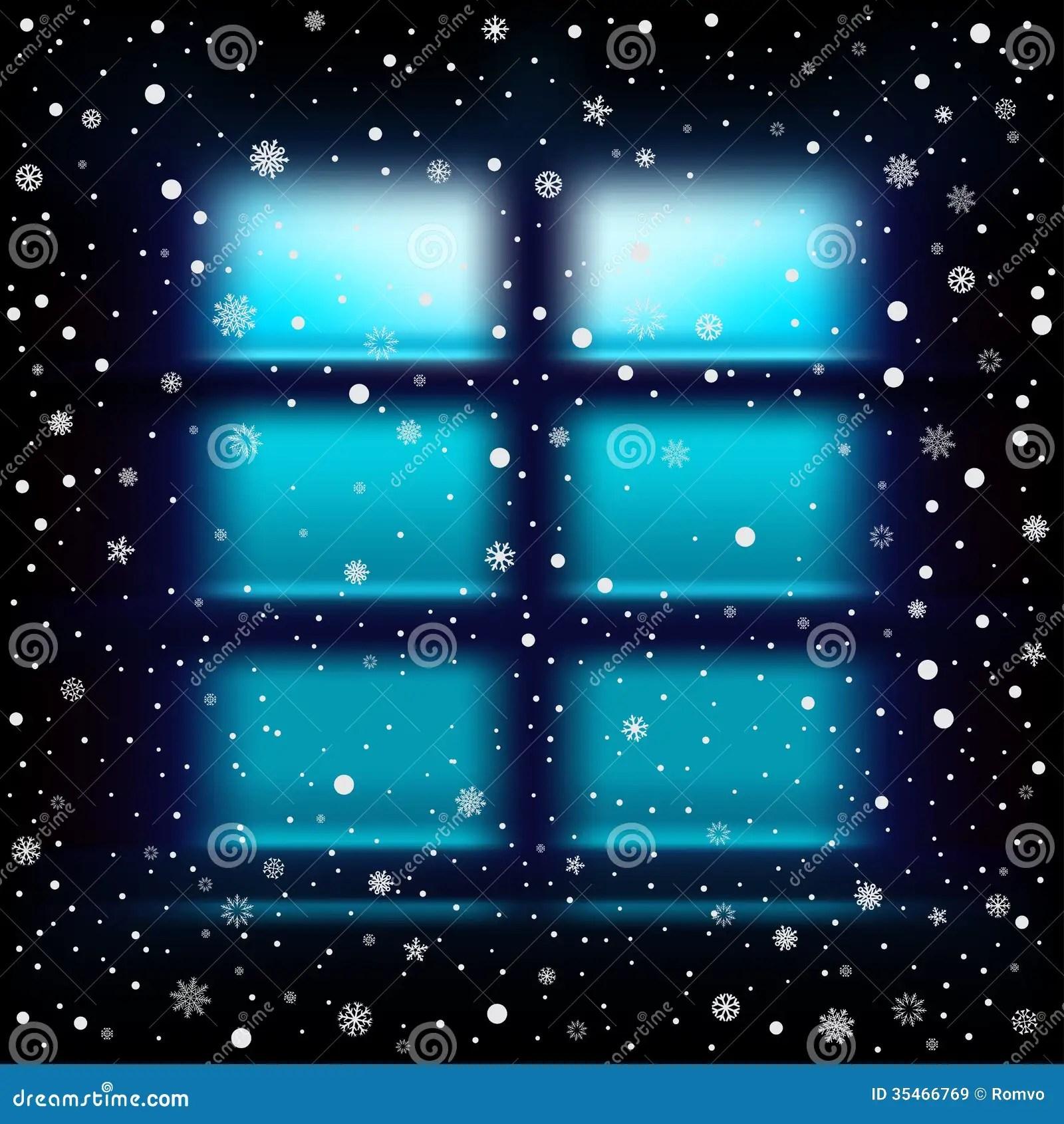 Snow Night Large Window Royalty Free Stock Images Image