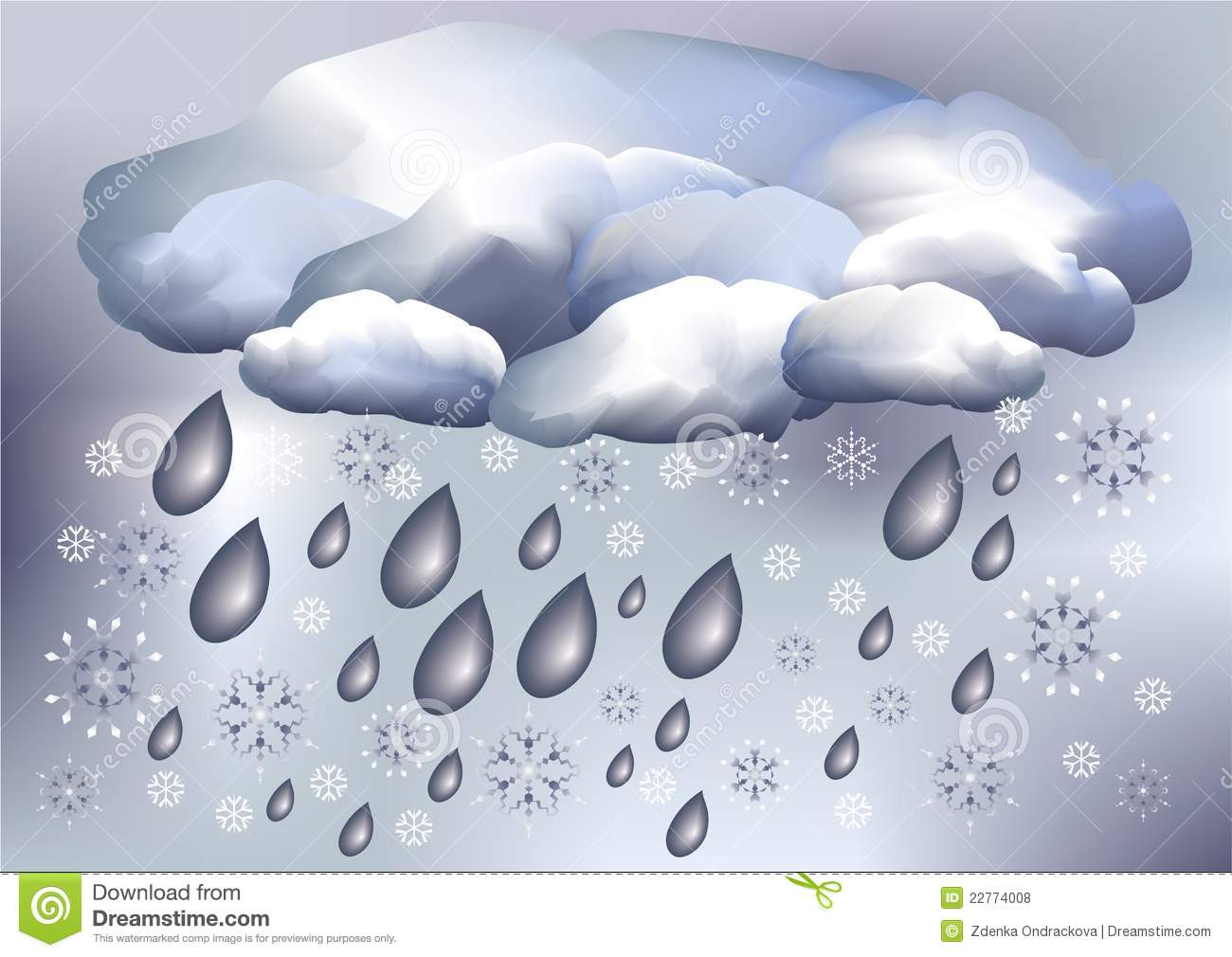 Snow And Rain Weather Stock Vector Illustration Of