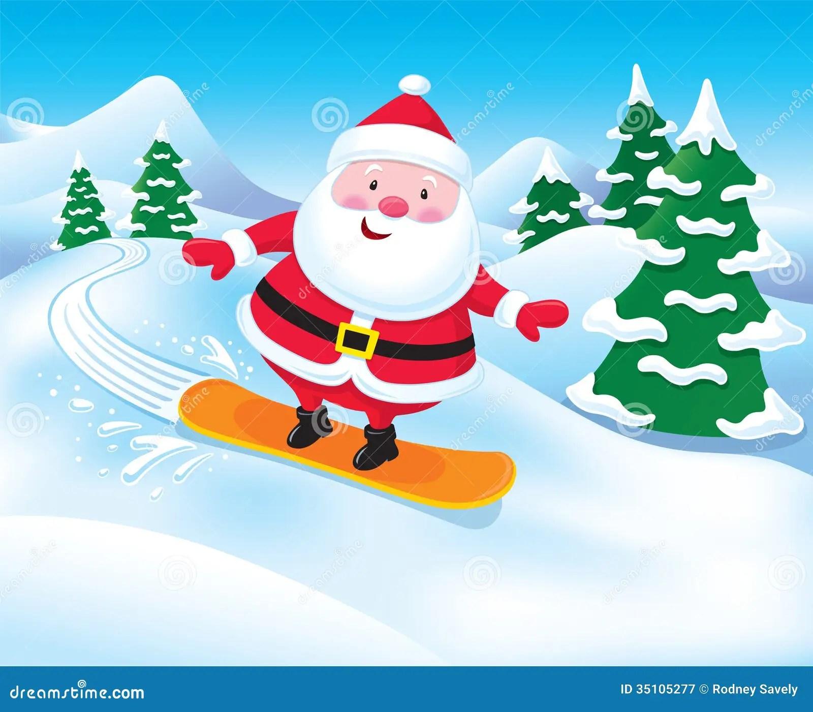 Snowboarding Santa Claus Royalty Free Stock Photography