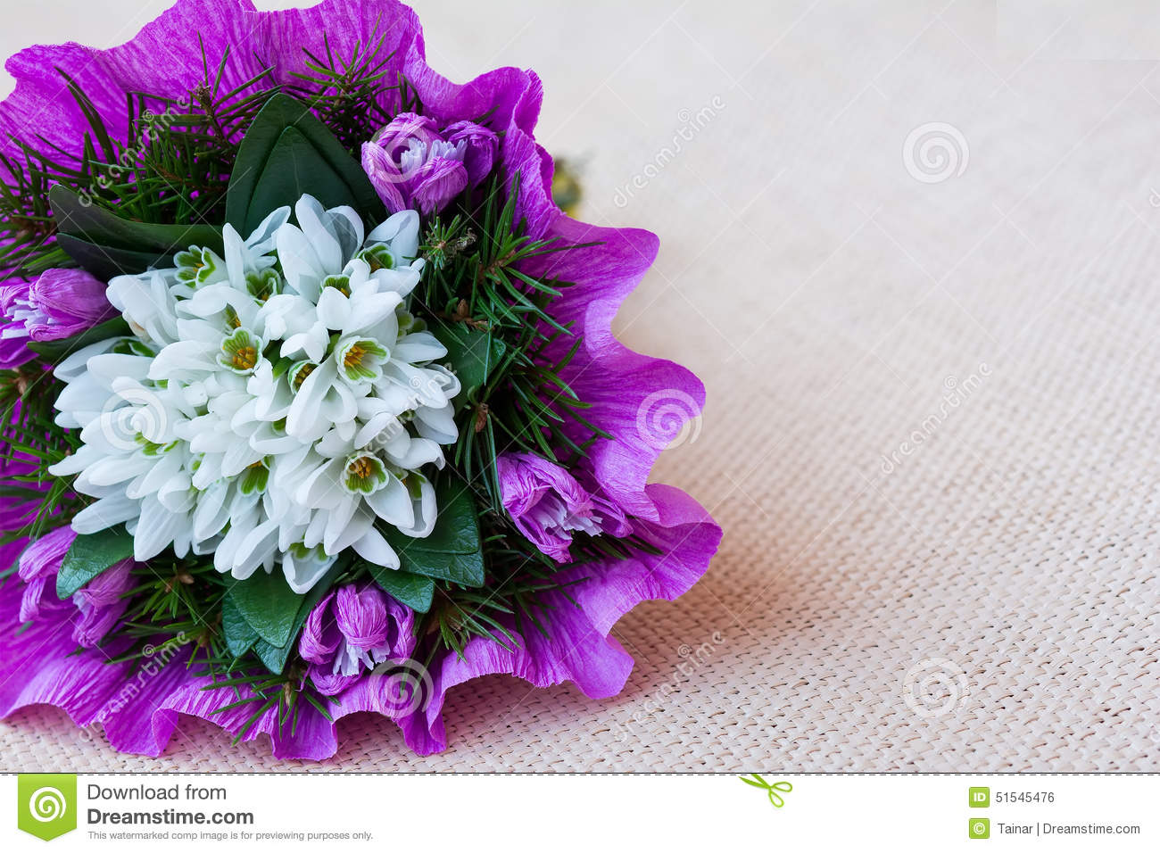 Bouquet Of Twigs And Cotton Flowers Cartoon Vector