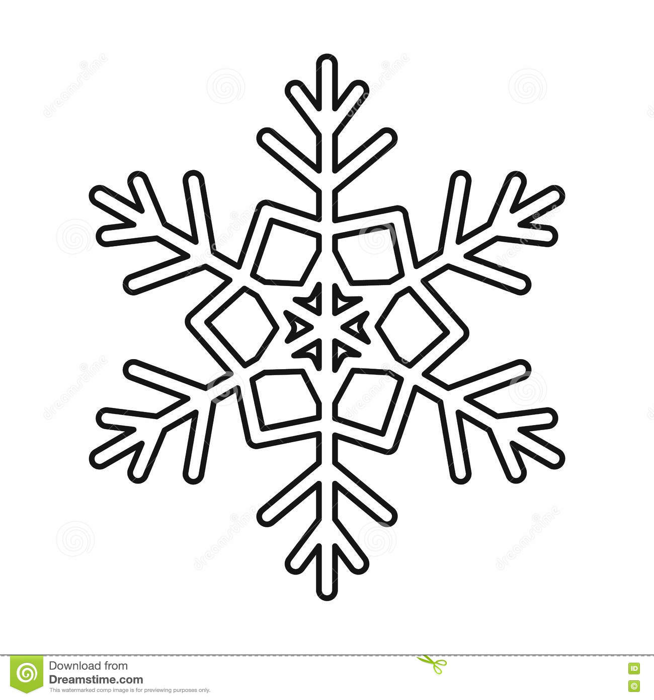 Snowflake Icon Outline Style Stock Vector