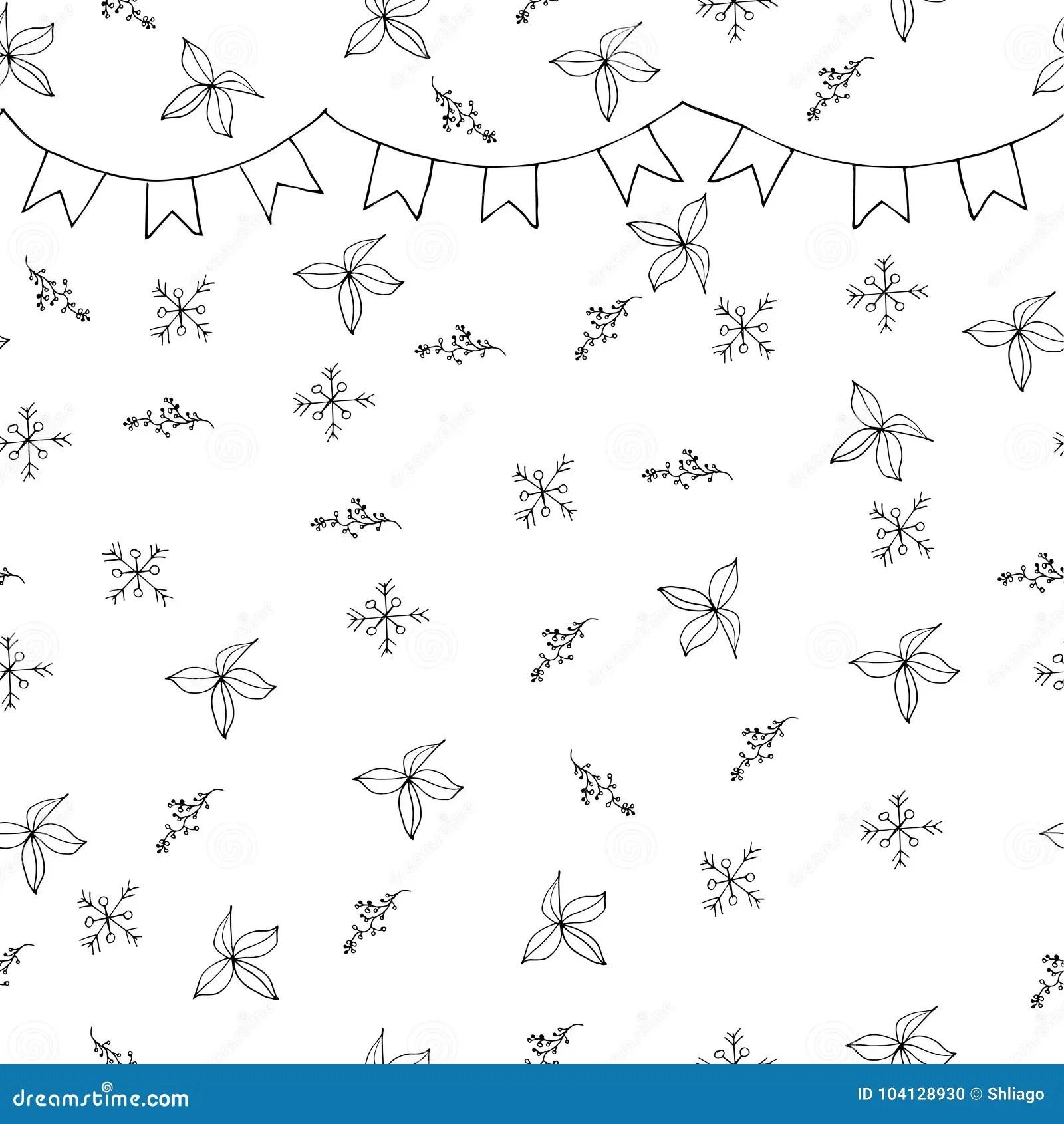 snowflake seamless pattern black snow and flag garland on white stock  illustration