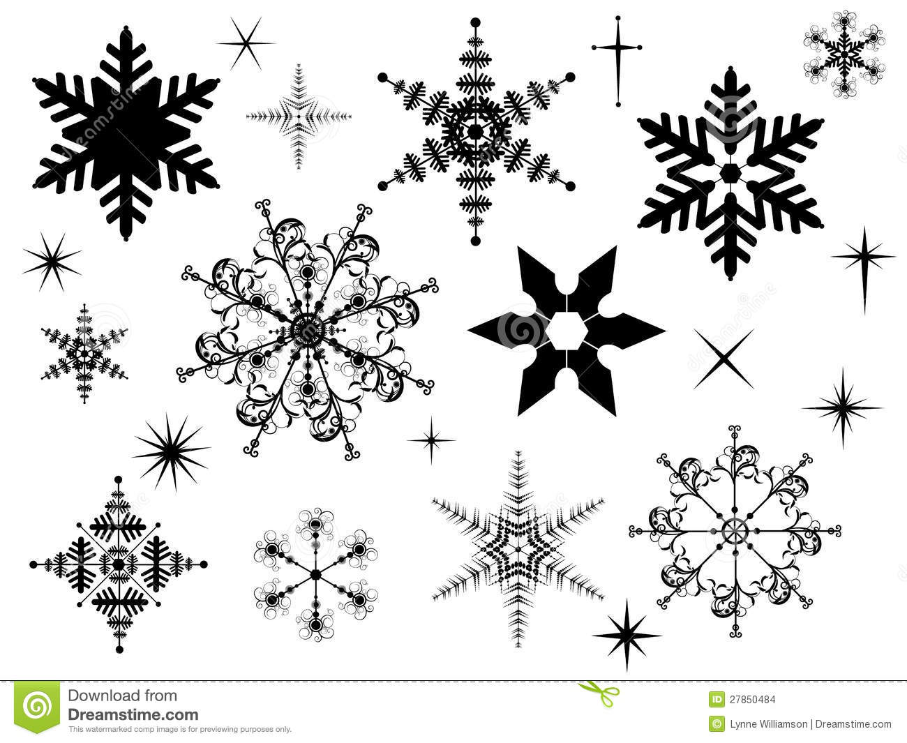 Snowflake Silhouettes Stock Vector Illustration Of Frosty