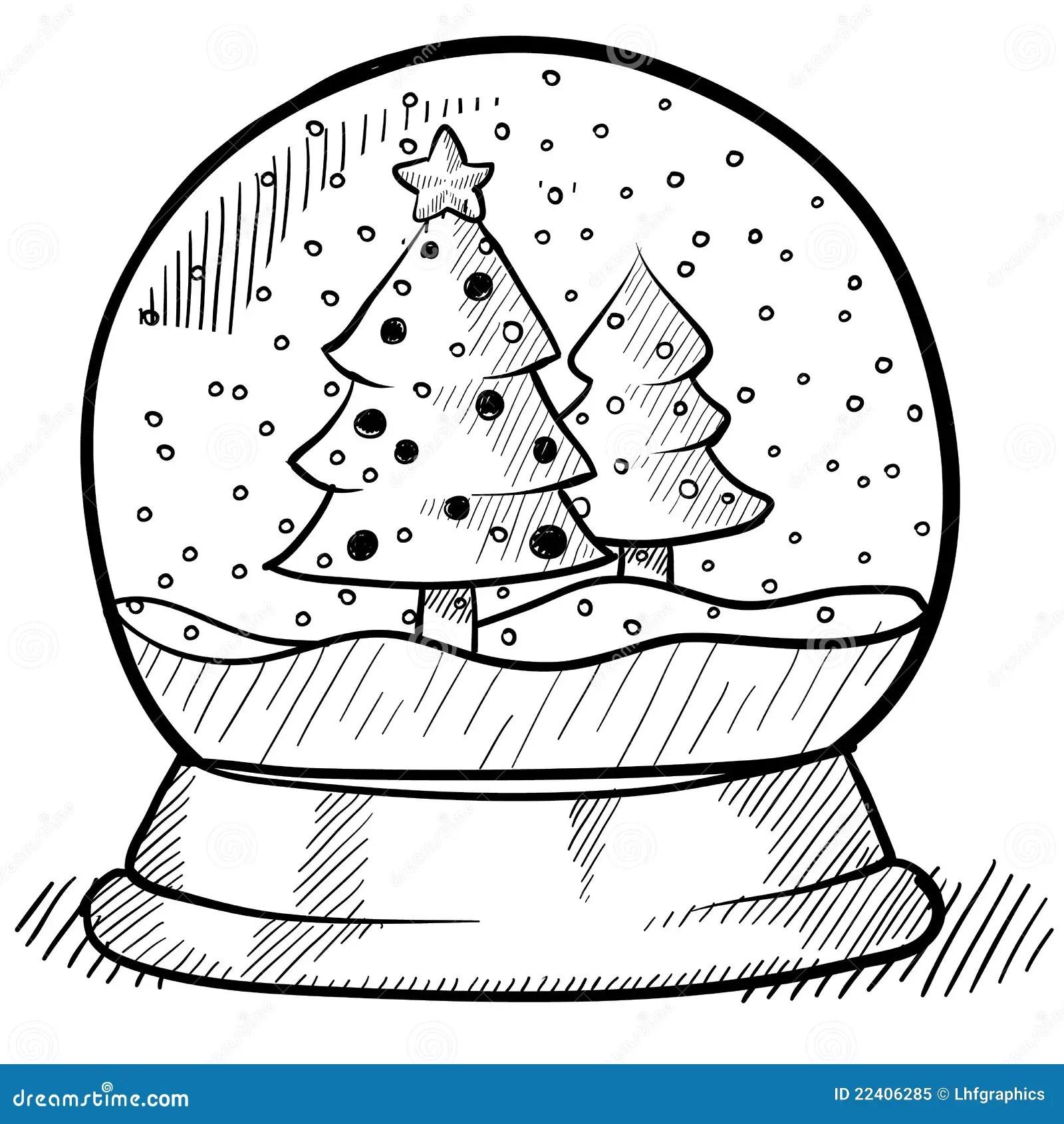 Snowglobe Drawing Stock Vector Illustration Of Tree