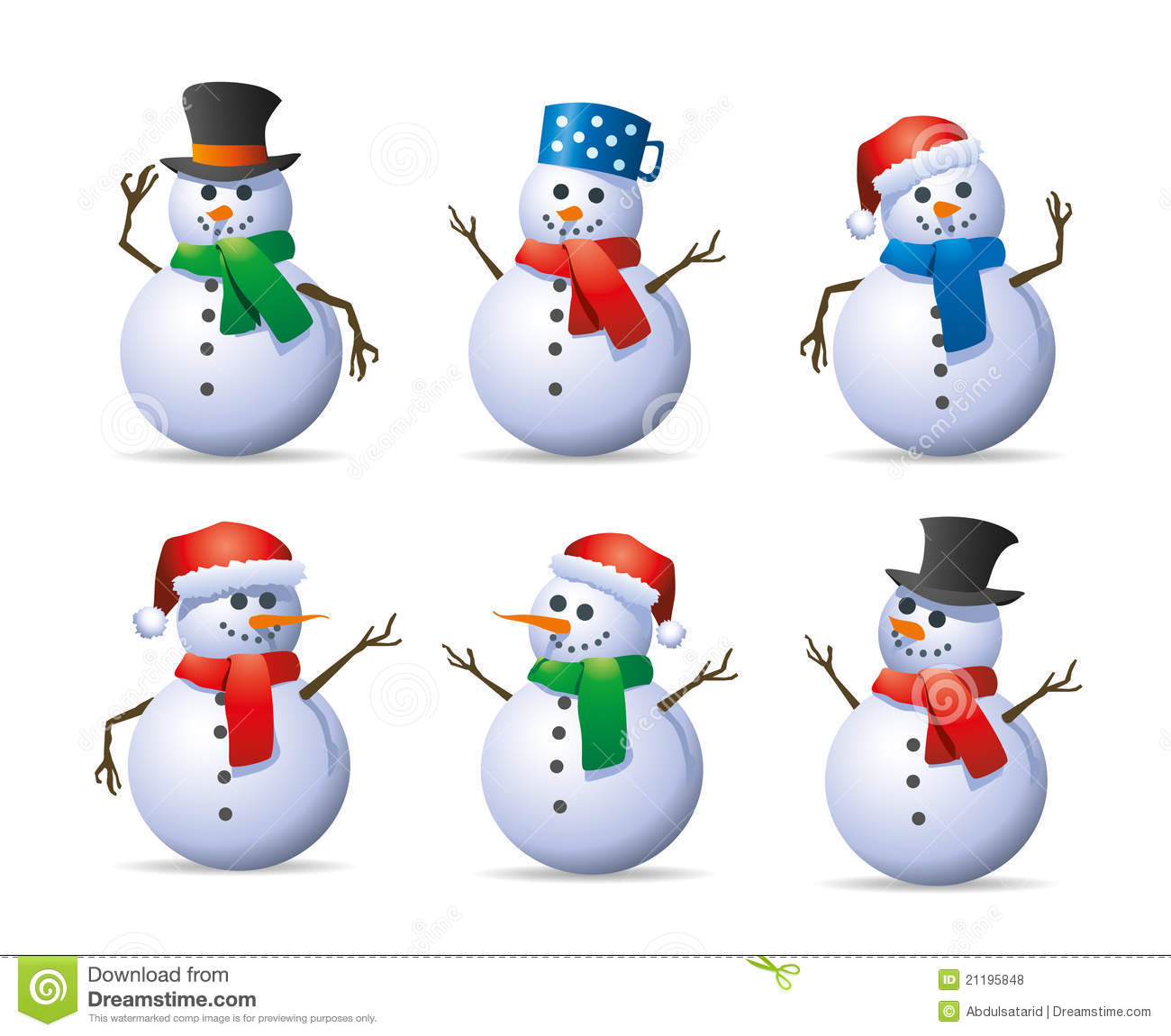 Snowman Set Stock Vector Illustration Of Scarves Cold