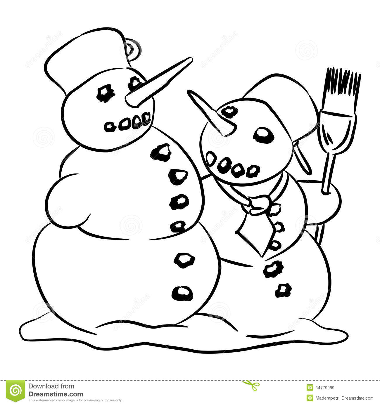 Snowman Stock Illustration Image Of Drawing Cute Winter