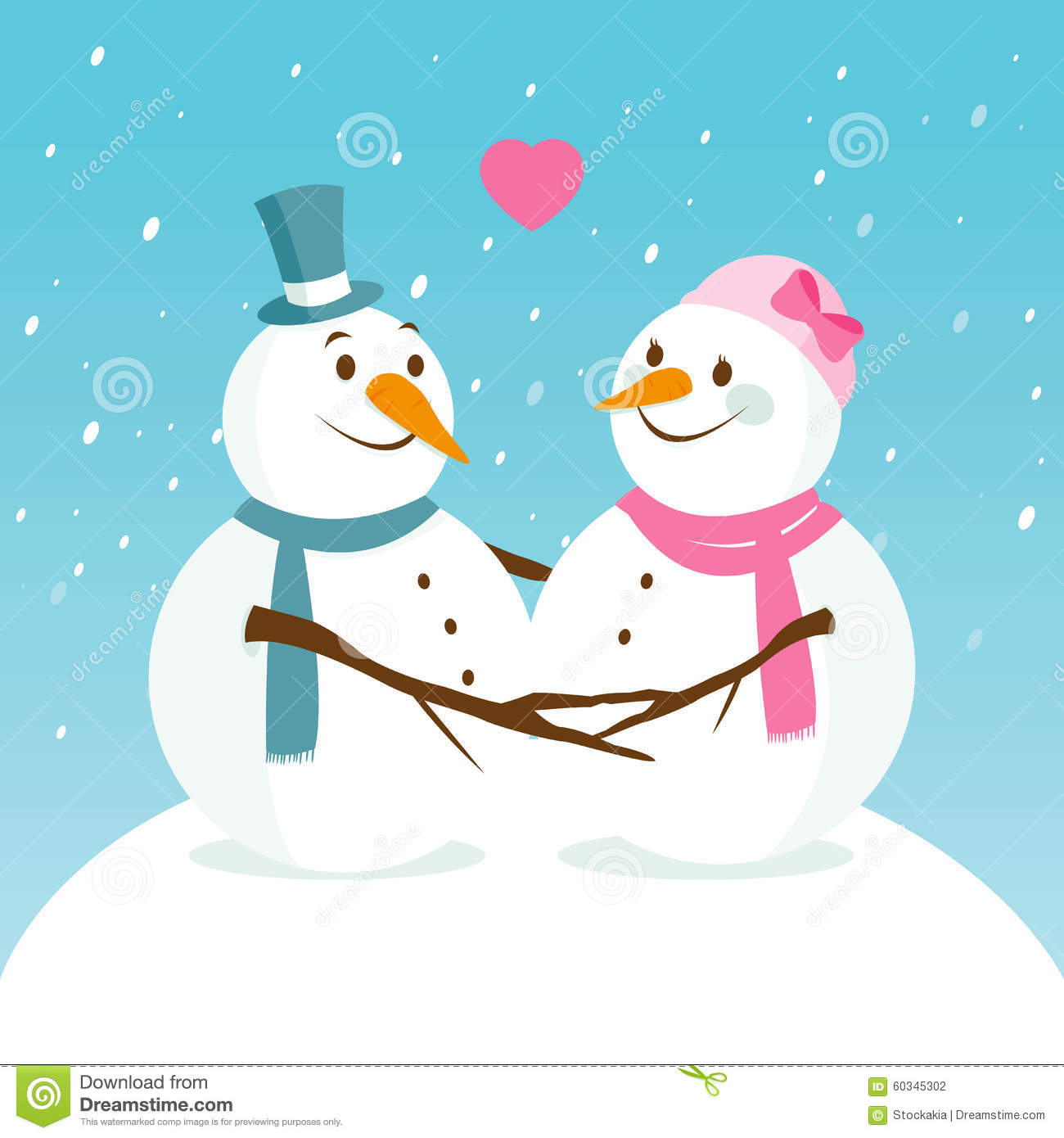 Snowy Landscape With Cute Snowmen In Love Stock Vector