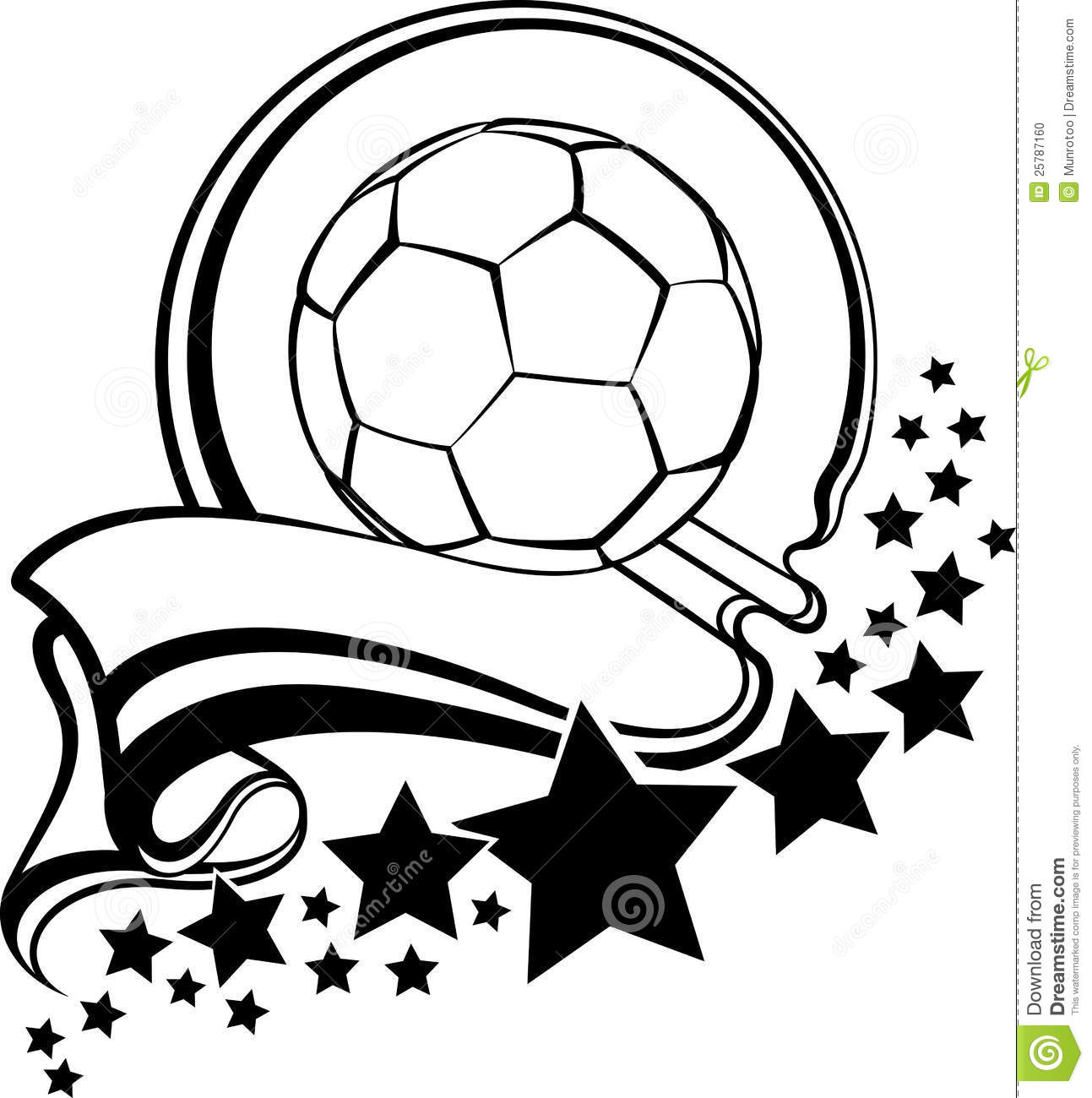 Soccer Ball With Pennant Amp Stars Design Stock Photo