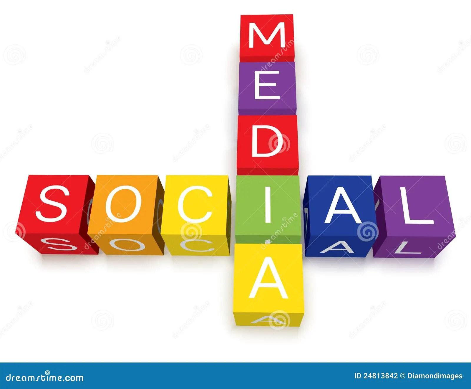 Social Media Crossword Puzzle Blocks Stock Vector