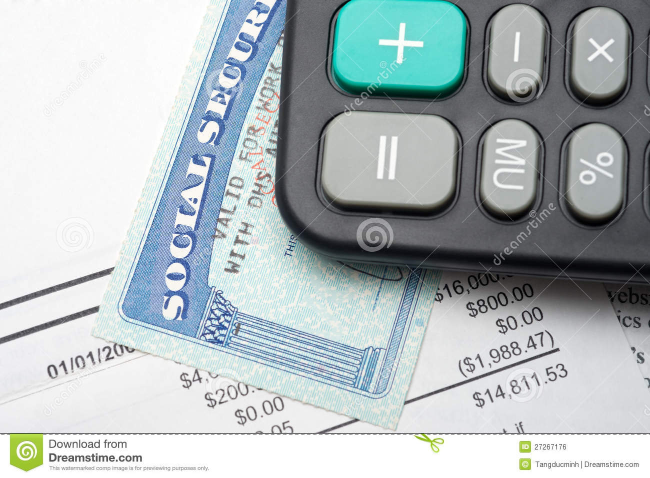 Social Security Calculation Royalty Free Stock Image