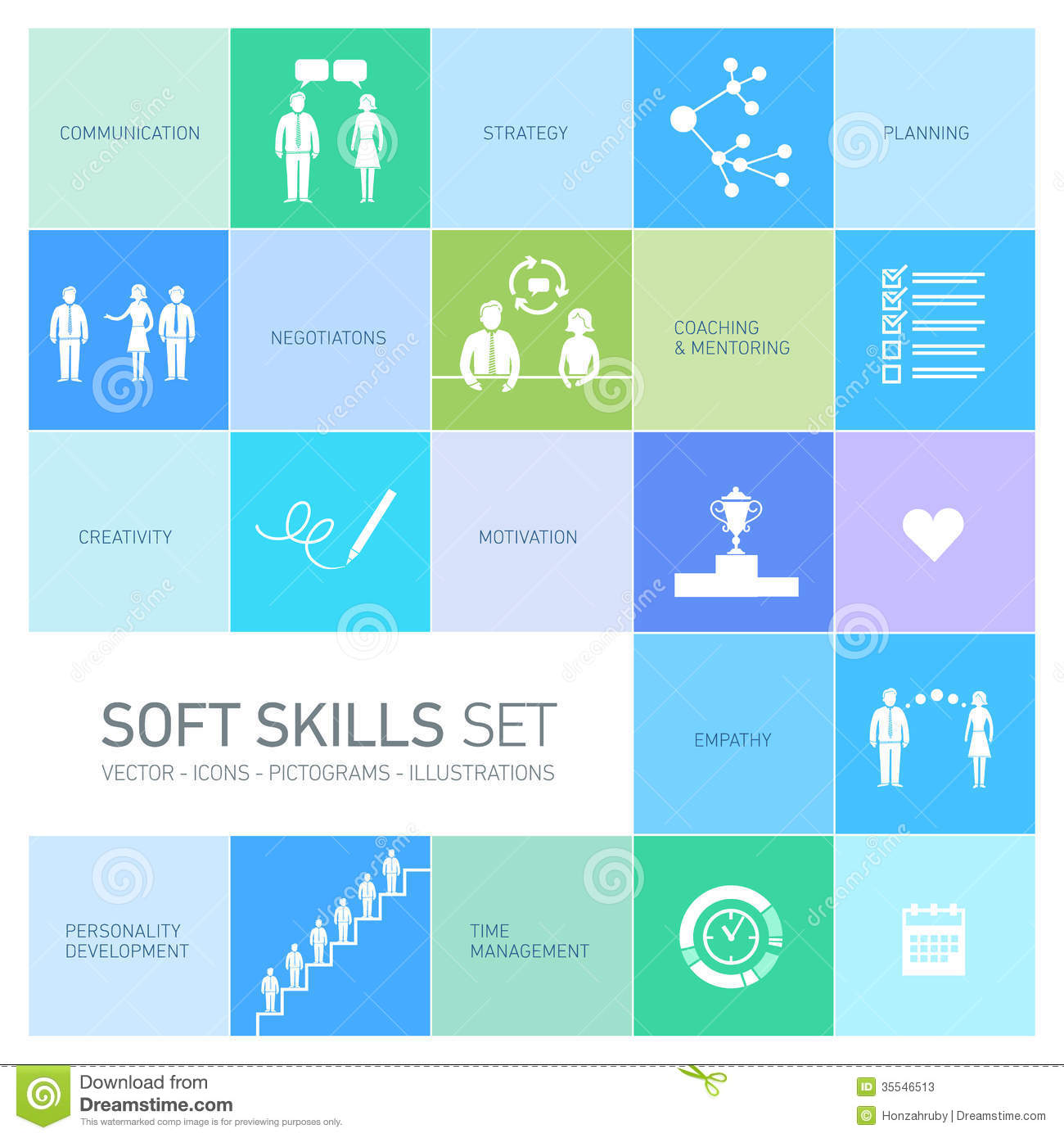 Soft Skills Icons Set Stock Illustration Illustration Of