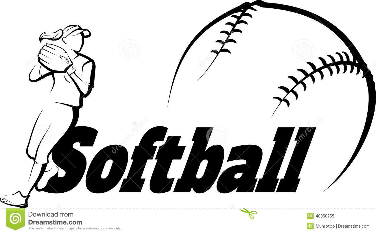 Softball Player Throwing With Text Amp Ball Stock Vector