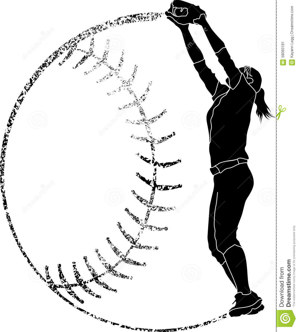 Softball Silhouette Fielder Catching Stock Vector