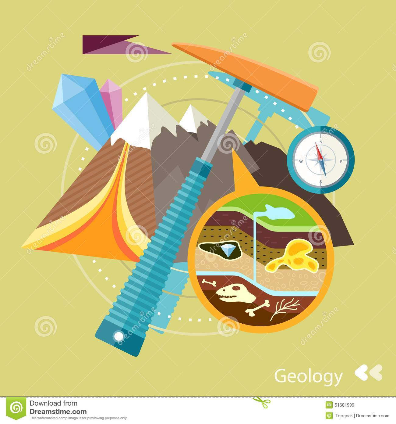 Soil Layers With Dinosaur Fossil Stock Vector