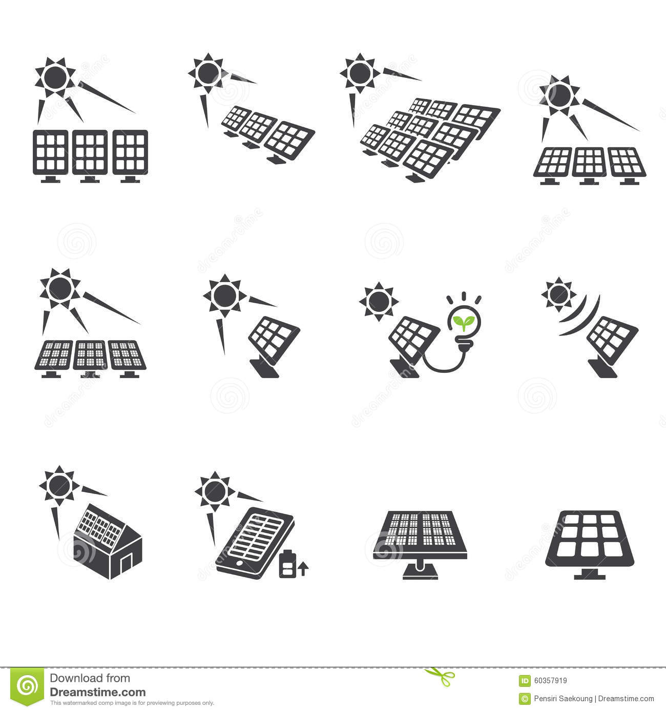 Solar Cell Icon Set Stock Vector Image Of Design Concept