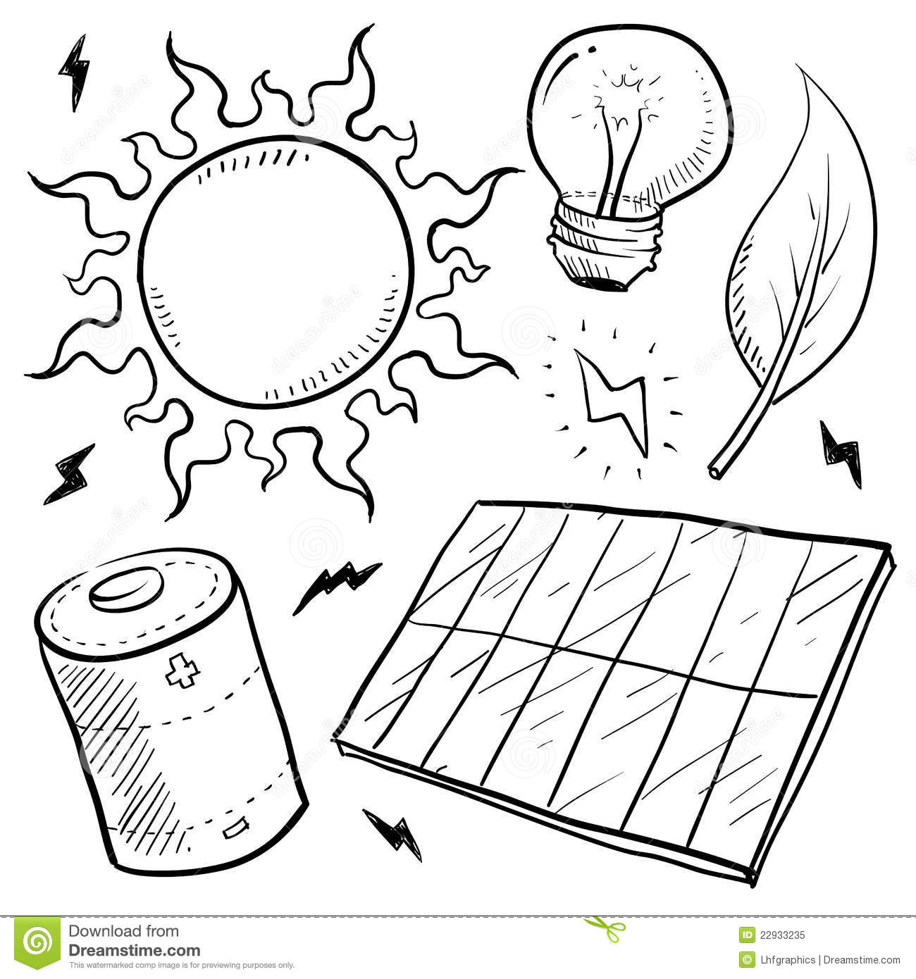 Solar Energy Objects Sketch Stock Vector