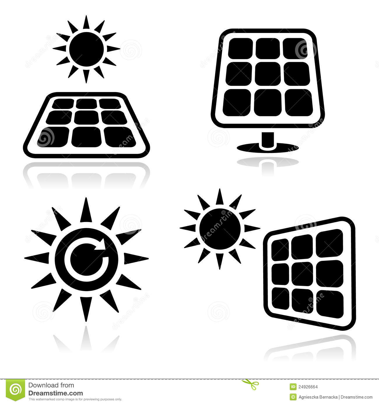 Solar Panels Icons Stock Images