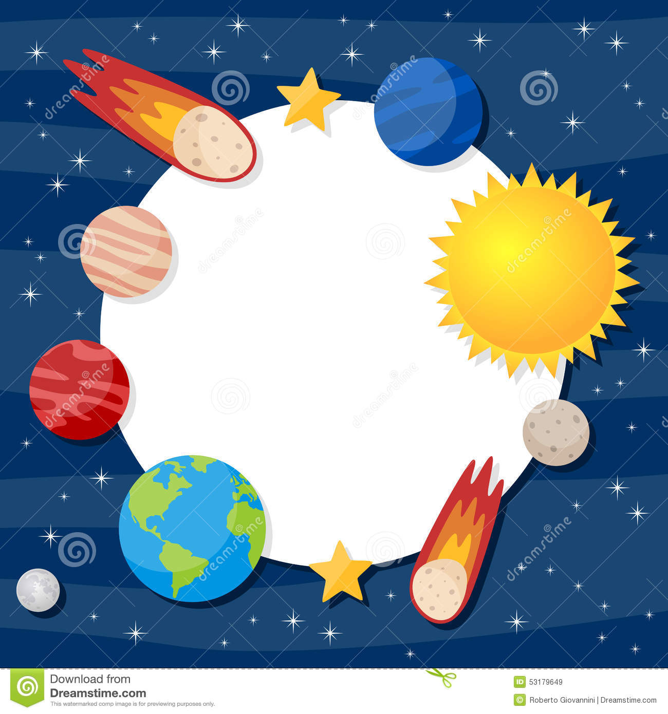 Solar System Planets Photo Frame Stock Vector