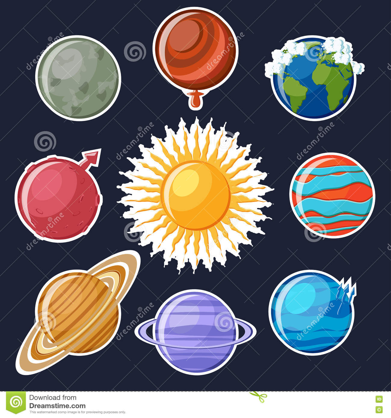 Solar System Or Planets Sticker Set Stock Vector