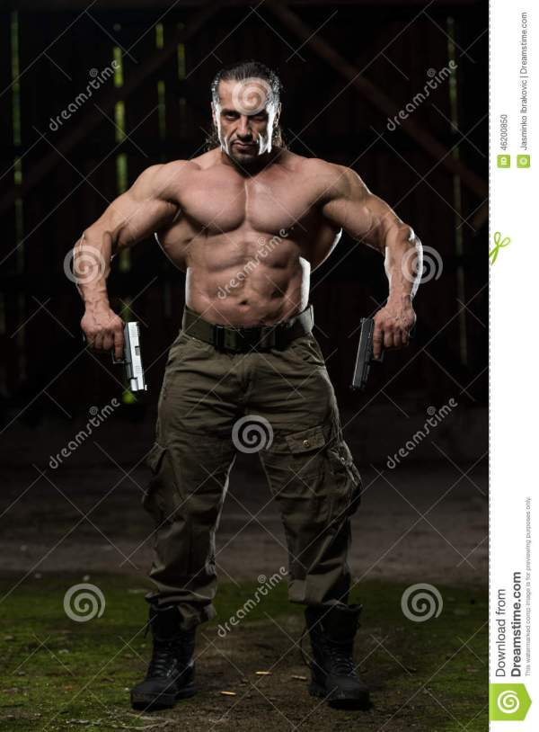 Soldier With Guns Stock Photo - Image: 46200850