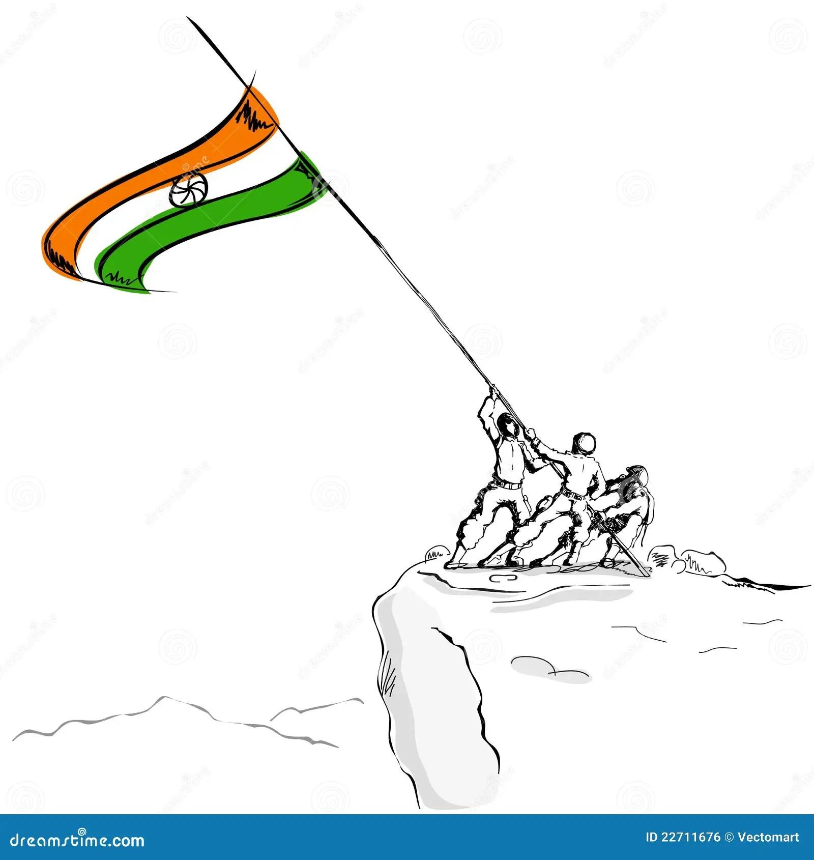 Sol R Raising Indian Flag Stock Vector