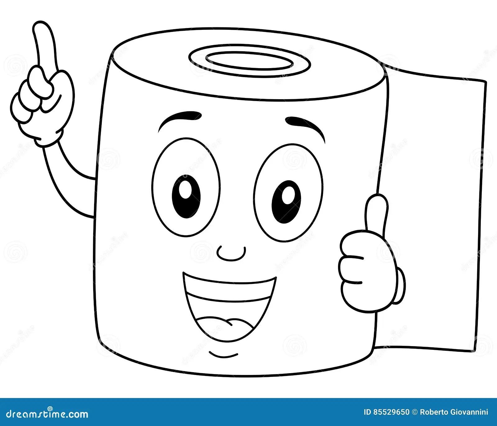 Sorriso Feliz Colorindo Do Papel Higienico Ilustracao Do