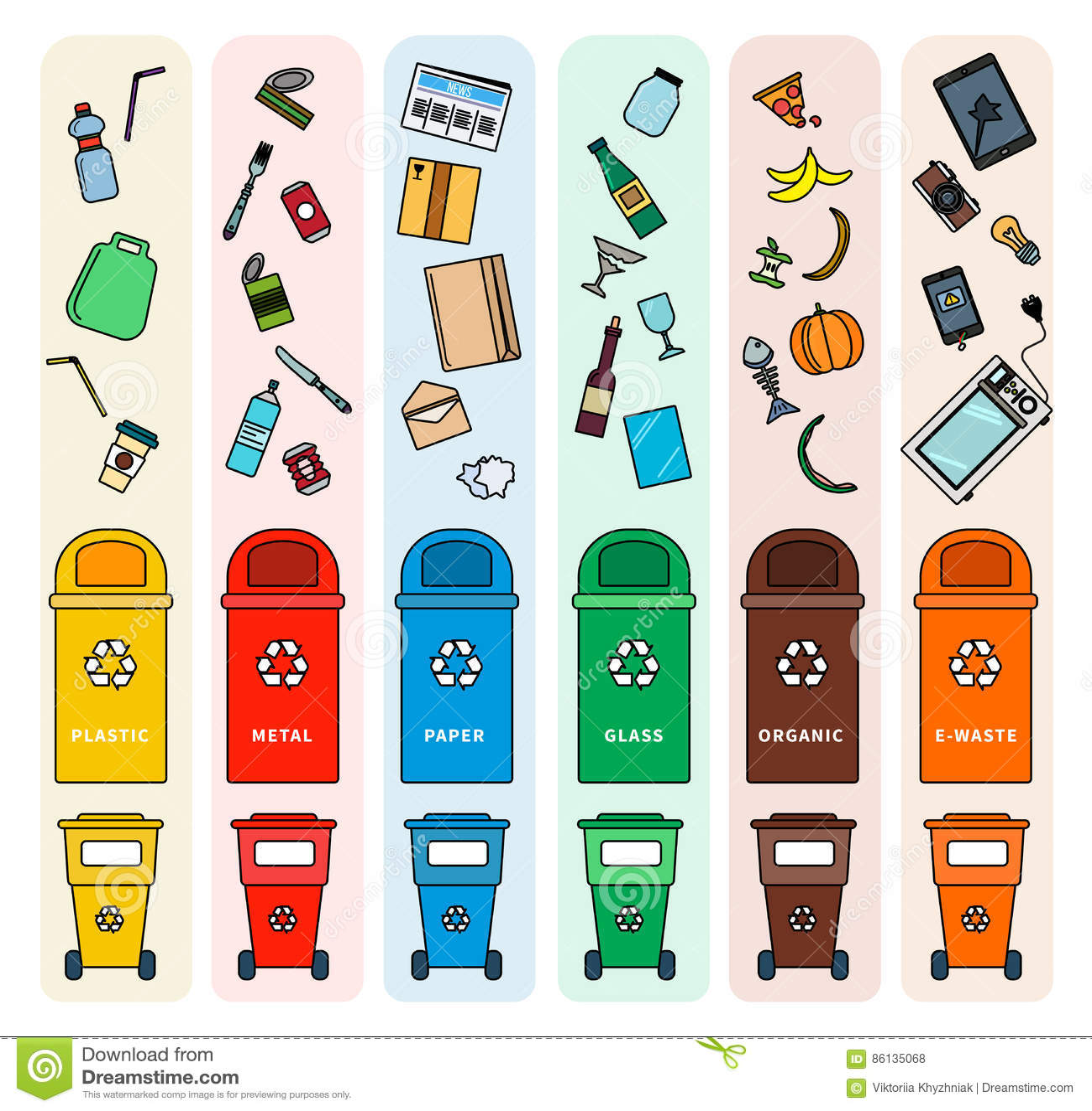 Sorting Garbage Bins Vector Illustration