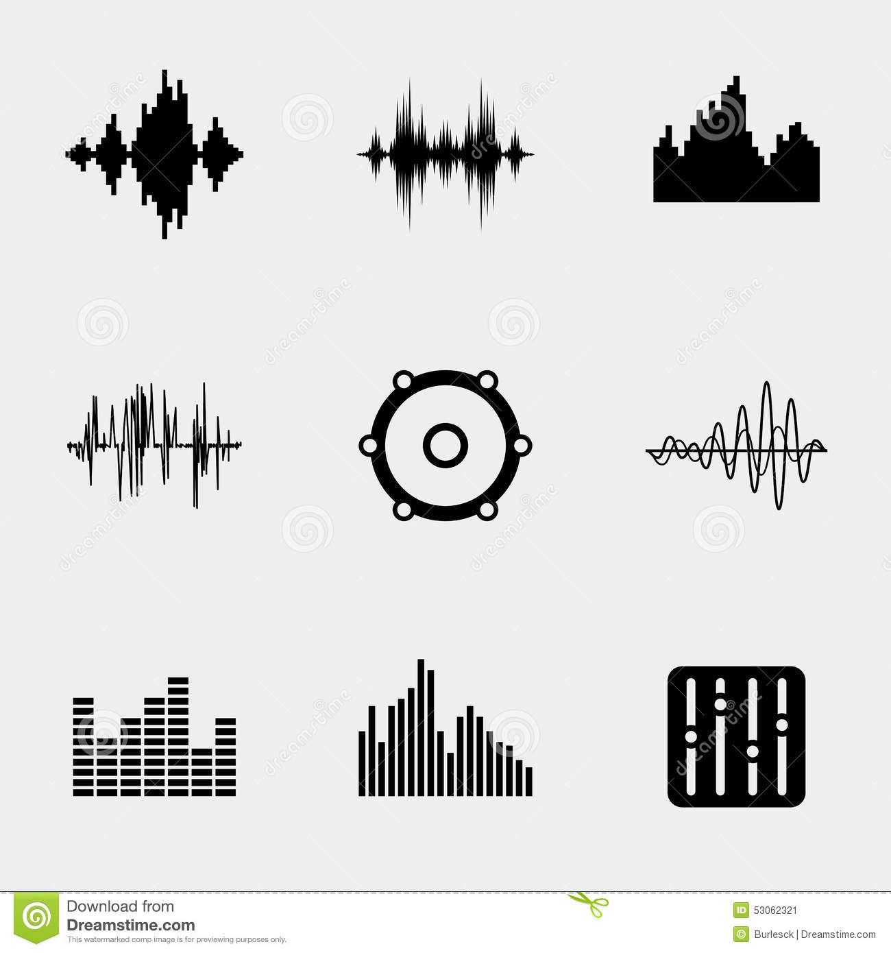Soundwave Music Icons Stock Vector