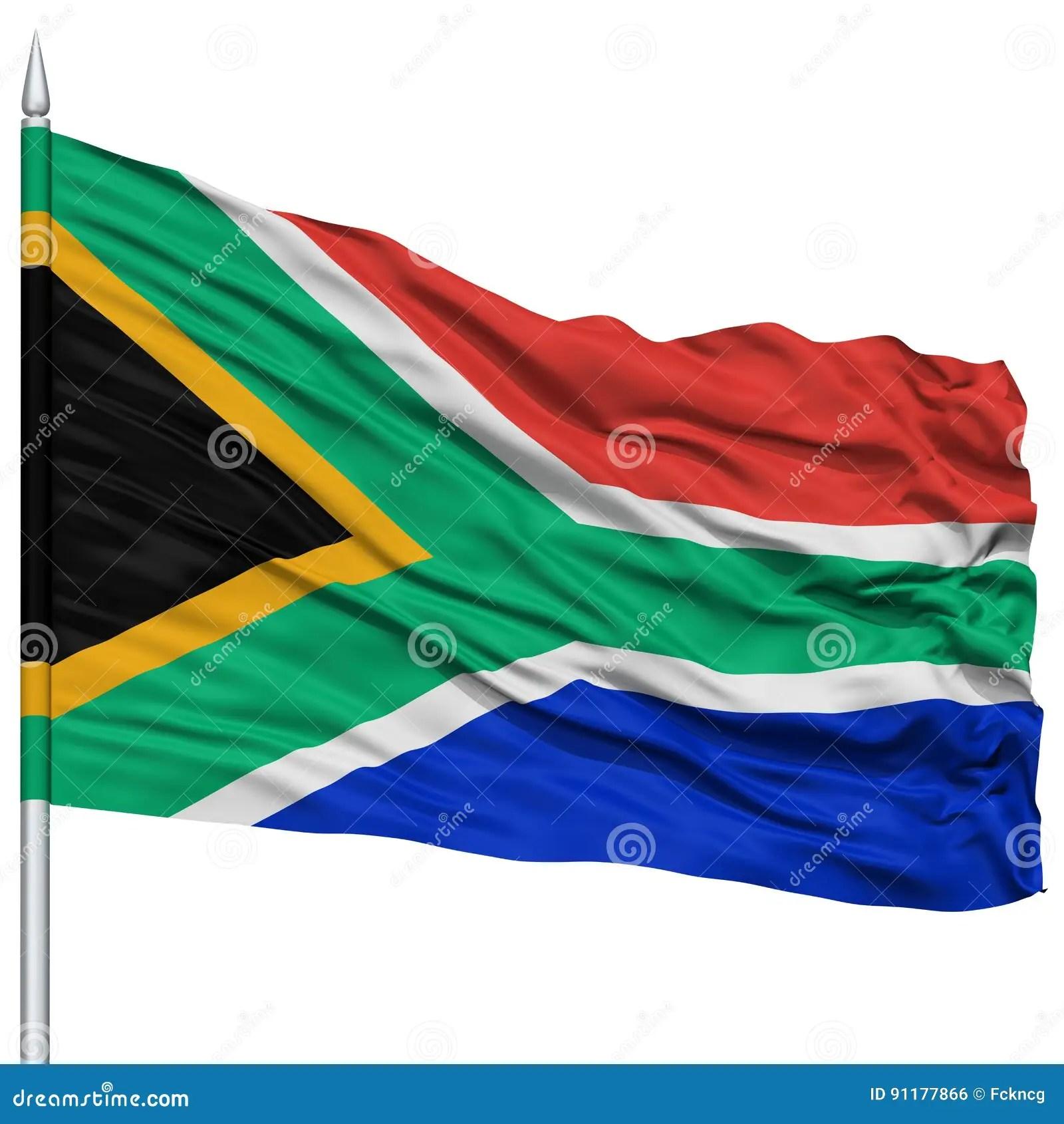 South Africa Flag On Flagpole Stock Photo