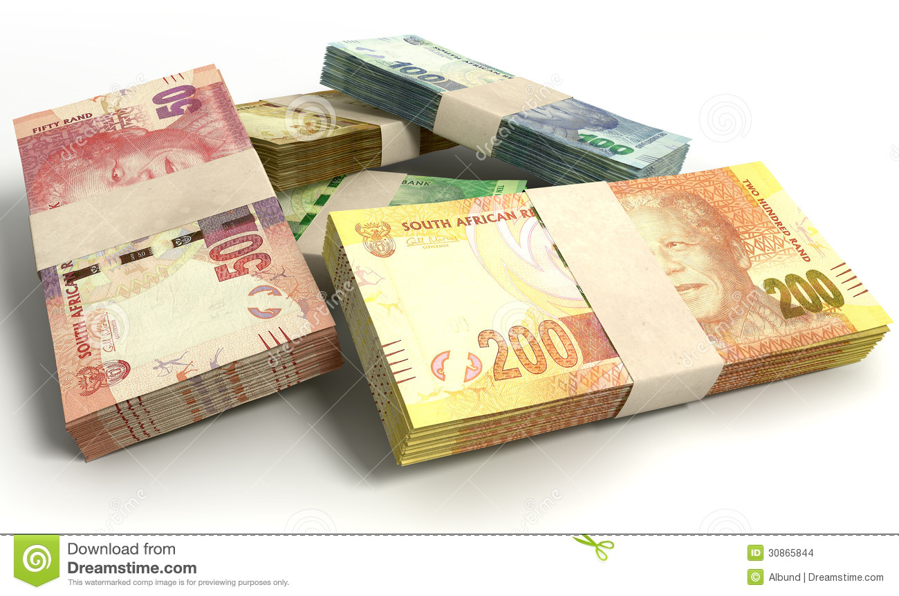 South African Rand Notes Bundles Stack Stock Illustration