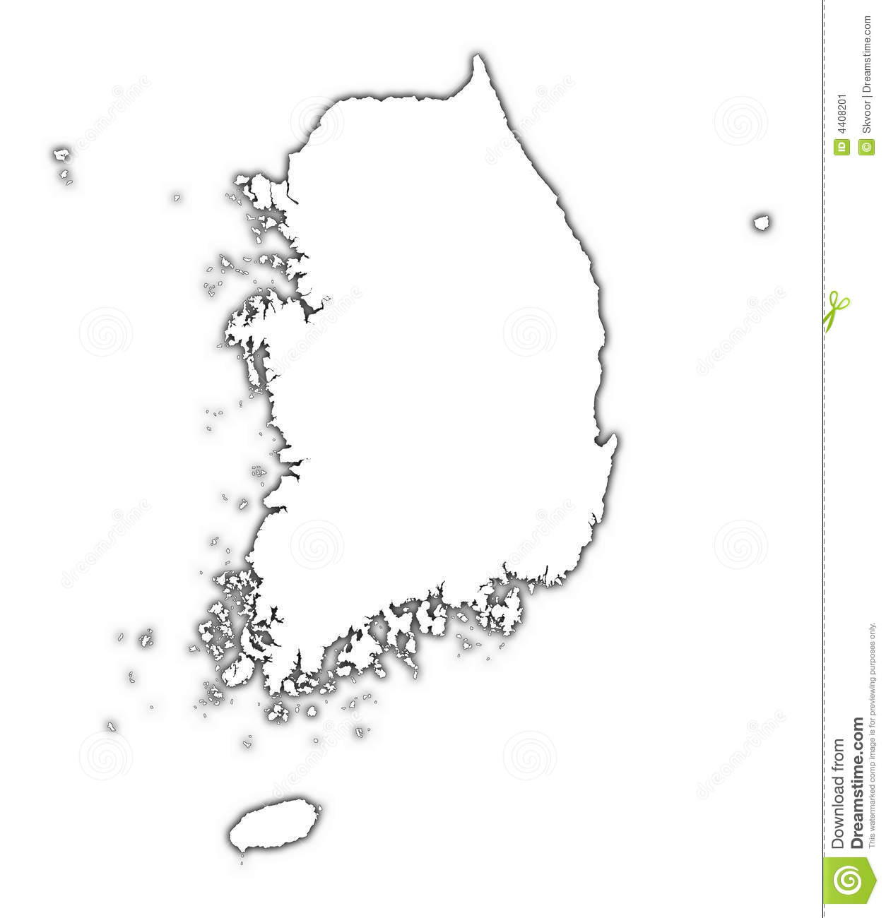 South Korea Outline Map Stock Illustration Image Of High