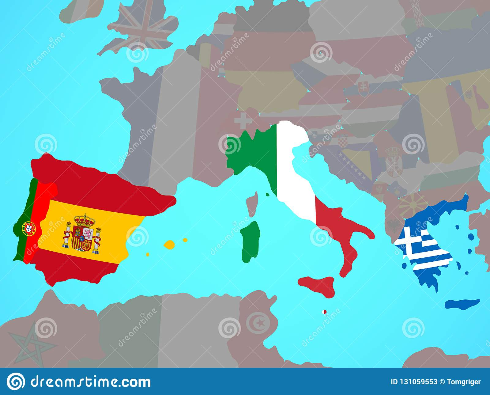 Southern Europe With Flags On Map Stock Illustration