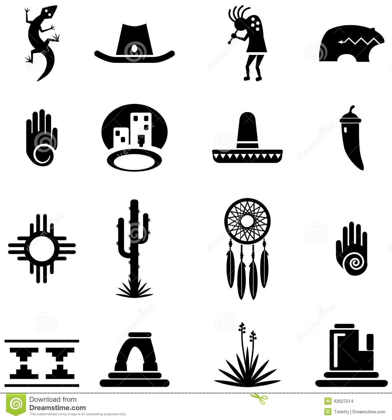Southwest Desert Icon Illustrations Stock Vector